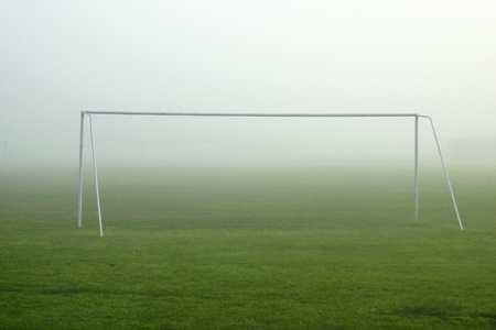 goalpost: View of football goalpost in foggy weather