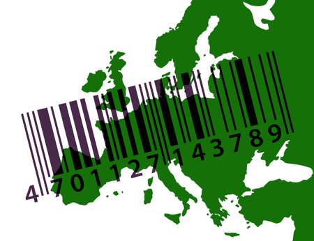 Green outline map of Europe with barcode photo