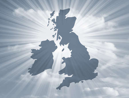 Outline map of UK over streaky sky background photo