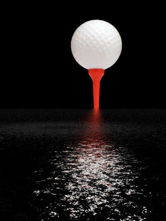 Golf ball on red tee with water reflection photo