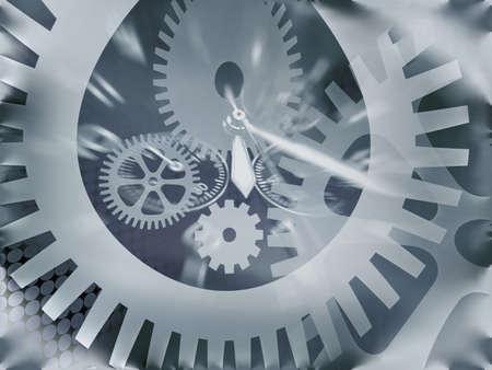 合成写真の歯車と時計の手