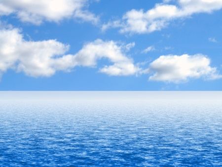 cloud sky: Simulated sky and water background or backdrop