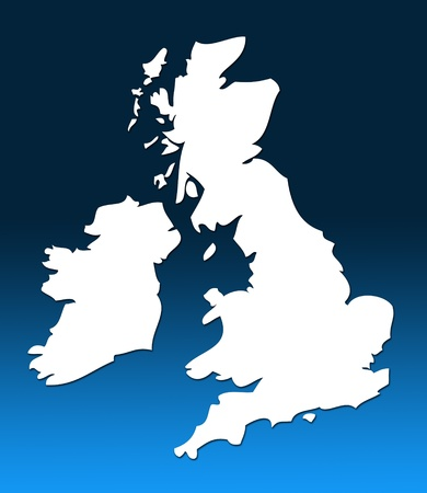 graduated: White outline map of UK over blue graduated background Stock Photo