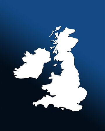 graduated: White outline map of UK over blue black graduated background