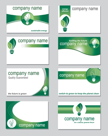 Selection of business cards on an environmental theme