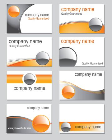 Selection of business card designs based on an orange theme Vector