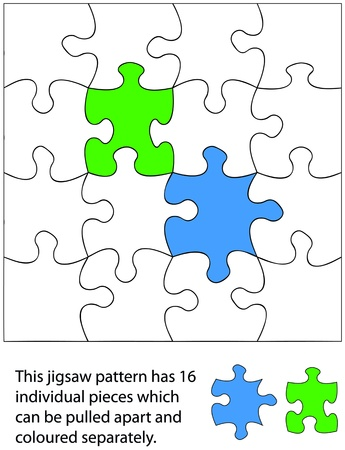 16 piece jigsaw blank. When used with a program each piece can be coloured individually and be moved around or deleted to create different effects. Vector