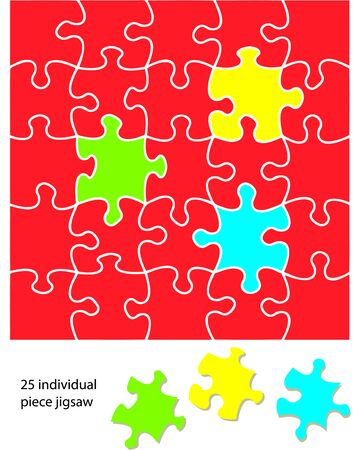 25 piece jigsaw blank. When used with a program each piece can be coloured individually and be moved around or deleted to create different effects. Vector
