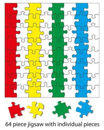 moved: 64 piece jigsaw puzzle blank. When used with a program each piece can be coloured individually and be moved around or deleted to create different effects. Illustration