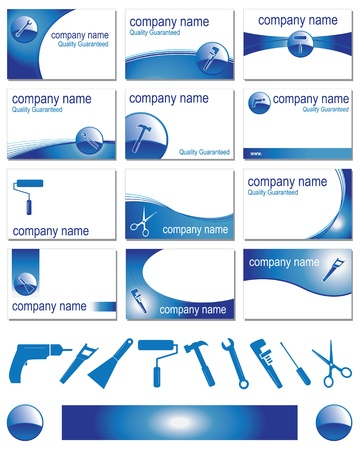 Twelve business card designs for different trades Vector
