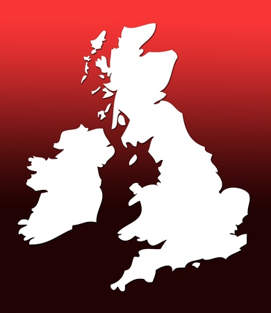 graduated: White outline map of UK over red graduated background