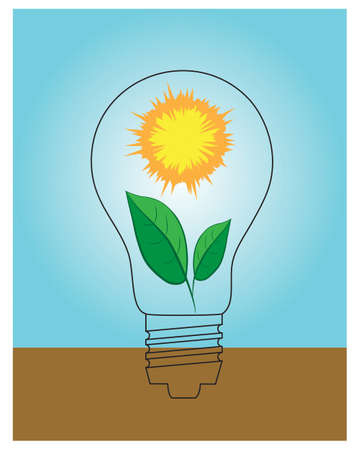 be green: Sun and leaves inside of screw type lamp. Could be used to promote green energy. Illustration