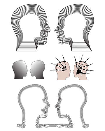 applied: Silhouettes of man and woman heads with different effects applied. Illustration