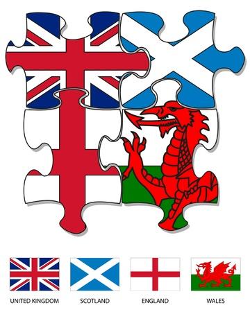 英国、スコットランド、英語、ウェールズ語のフラグで満たされた 4 つのジグソー パズルのピース