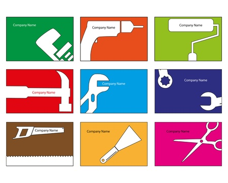 Nine business card designs for different trades Illustration