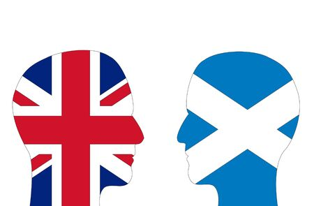 controversy: Two male head shapes filled with flags of Britain and Scotland. Note: Scotland is seeking independence from Britain.