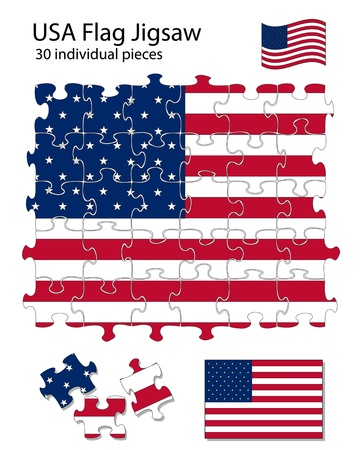 moved: The USA flag incorporated into a 30 piece jigsaw pattern. Each piece can be moved around or deleted separately. Illustration