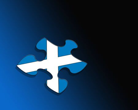 Jigsaw piece with Scottish flag over black and blue gradient photo