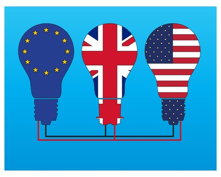 Three light bulbs filled with the flags of the EU, UK and USA, Stock Vector - 12483122