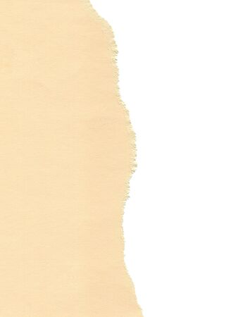 cream paper: Scanned image of torn textured paper over white