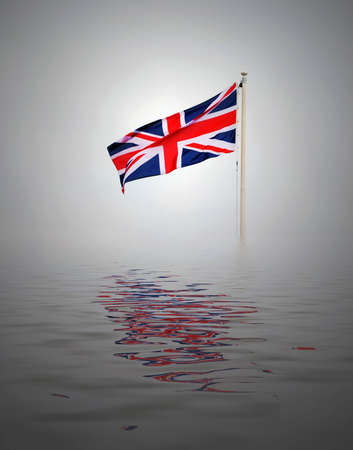 Lone Union Jack flag with simulated water. photo
