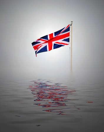 uk flag: Lone Union Jack flag with simulated water. Stock Photo