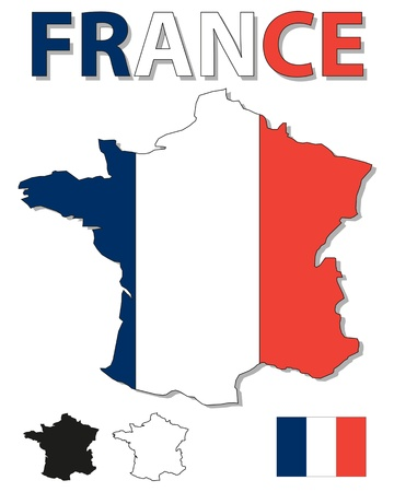 french flag: Outline map of France filled with French flag