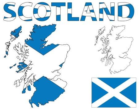 Esquema del mapa de Escocia llenado de la bandera de Escocia
