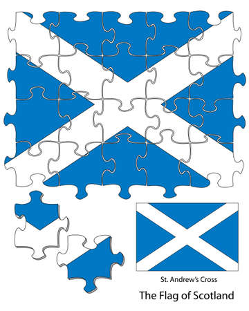 The Scottish flag incorporated into a 24 piece jigsaw pattern  Each piece can be moved around or deleted using software  Could be used in artwork in relation to Scotland s bid for independence  Vector