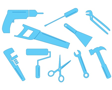 A selection of tool shapes for different trades  These simple shapes could be used in business cards or to enhance letterheads  Vector