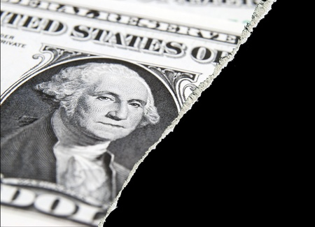 applied: Torn paper effect applied to US dollar bank note Stock Photo