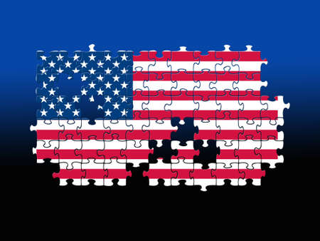 missing puzzle piece: Jigsaw pieces filled with USA flag over blackblue background.