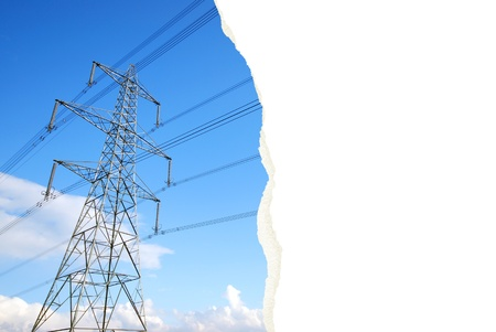 An interesting photograph of an electricity pylon with torn paper effect leaving the designer space to insert their own images and text  The  Stock Photo - 12554550