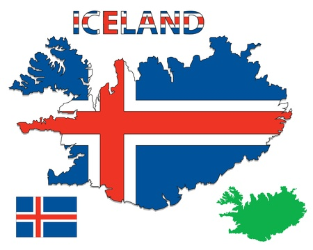 iceland: Outline map of Iceland filled with their flag Illustration