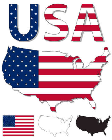 Outline map of USA filled with USA flag Vector