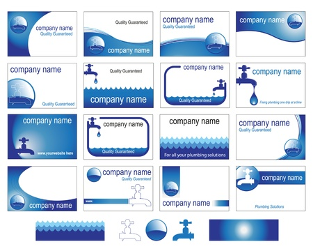 Sixteen interesting business card designs for the plumbing trade or business.