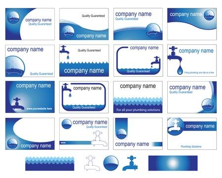 loodgieterswerk: Zestien interessante visitekaartje ontwerpen voor de traditionele gespecialiseerde handel of bedrijf.