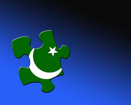pakistan flag: A single jigsaw piece filled with flag of Pakistan  Stock Photo