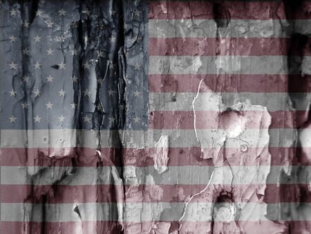 adds: Unusual grunge type image show the US flag overlaid over flaky paint on old wooded door  Faded colors used adds to the effect  Eye catching image has many uses