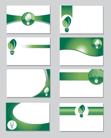 green lines: Selection of business cards on an environmental theme