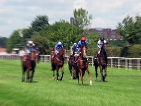 carreras de caballos: Efecto de zoom aplicado a los caballos que corren en el hip�dromo de York Foto de archivo
