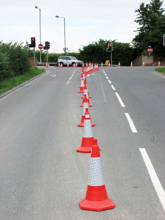 Road cones used to seal of traffic lane  Standard-Bild