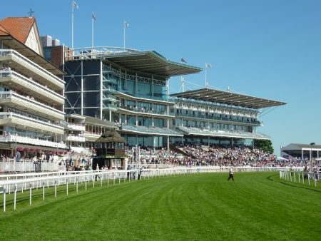 racecourse: York race course stands filled with spectators. York, North Yorkshire.