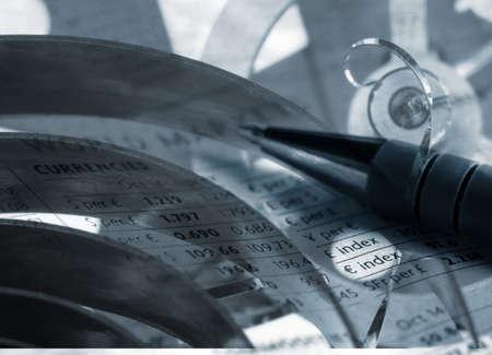 Concept illustration showing clockwork parts overlaid with currency figures. illustration