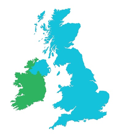 Outline map of UK and Ireland over white background