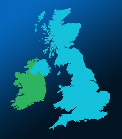 Outline map of UK and Ireland over graduated blue background photo