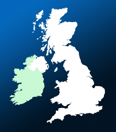 outline blue: Outline map of UK and Ireland over graduated blue background Stock Photo
