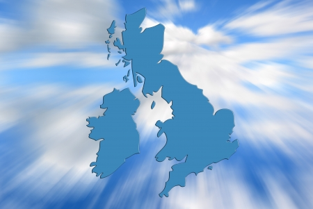 eire: Outline map of UK and Ireland over zoom sky pattern