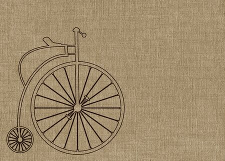 Penny Farthing bicycle on brown textured background