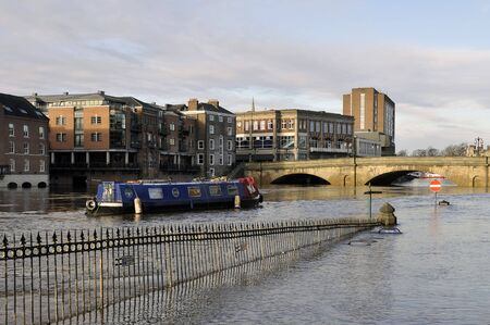 ouse: View of flooded River Ouse in City of York  Stock Photo